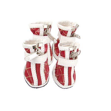 Unique Bargains 2 Pairs Pet Dog Argyle Style Zipped Boots Red Wht Sz - Wht Wall Dog