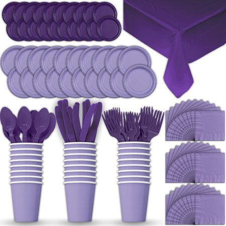 Paper Tableware Set for 24 - Lavender & Purple - Dinner and Dessert Plates, Cups, Napkins, Cutlery (Spoons, Forks, Knives), and Tablecloths - Full Two-Tone Party Supplies Pack