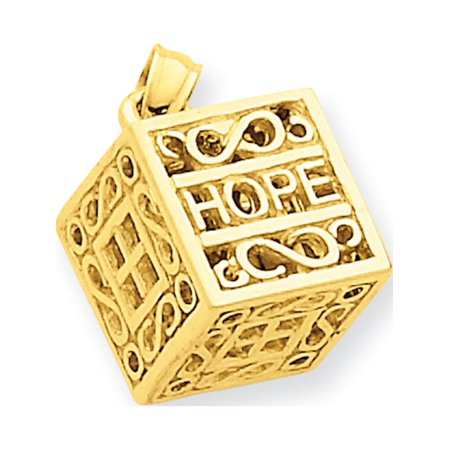 Leslies Fine Jewelry Designer 14k Yellow Gold Faith & Hope Prayer Box (14x17mm) Pendant Gift (Oxidized Prayer Box)