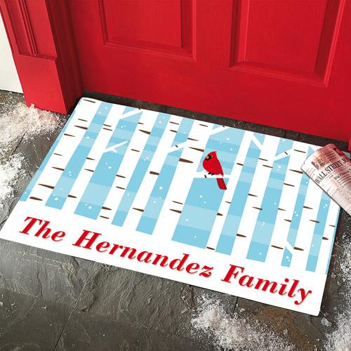 Personalized Winter Cardinal Doormat