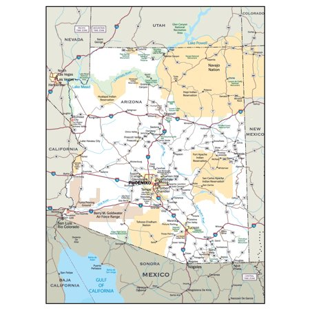 A Map Of Arizona State.Laminated Map Large Detailed Roads And Highways Map Of Arizona State With Cities Poster 24 X 36