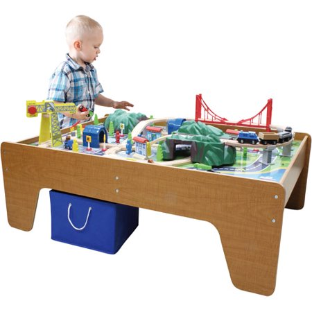100-Piece Mountain Train Set and Wooden Activity Table - Walmart.com