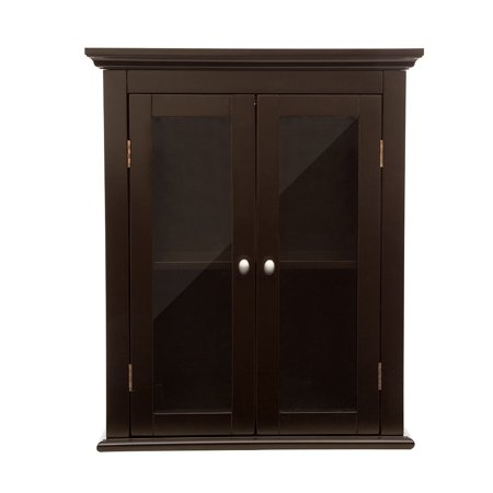 Glitzhome Wooden Wall Storage Cabinet With Double Doors Espresso