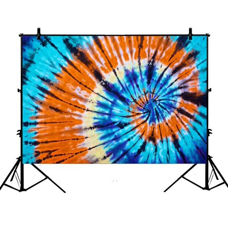PHFZK 7x5ft Bule Orange Tie Dye Hippie Backdrops,Apartment,Dorms and Office Sets Photography Backdrops Polyester Photo Background Studio Props (Hippie Photo)