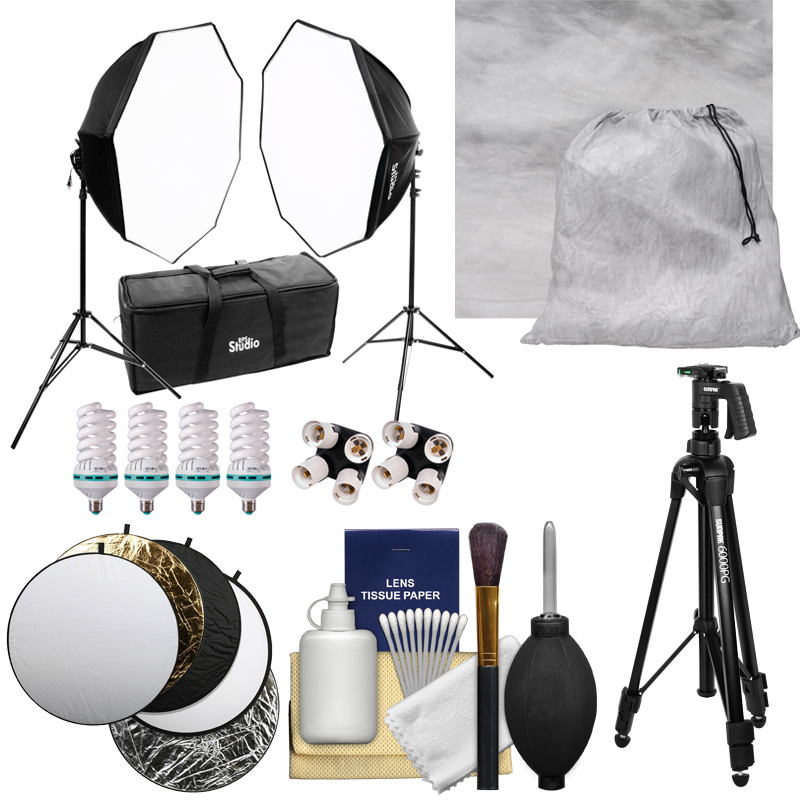 RPS Studio Hybrid Still & Video Lighting Studio Kit (RS-4085) with Muslin Background   Tripod   Reflector   Kit