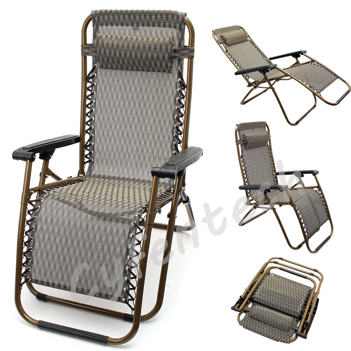 Zero Gravity Reclining Folding Garden Patio Lounger Lounge Chairs Recliner Relaxer Chair
