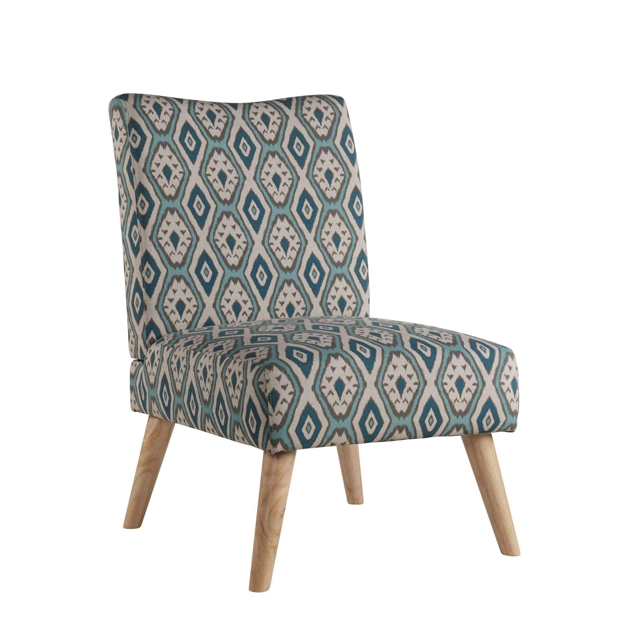 Mainstays Slipper Chair with Wood Legs Teal Geo