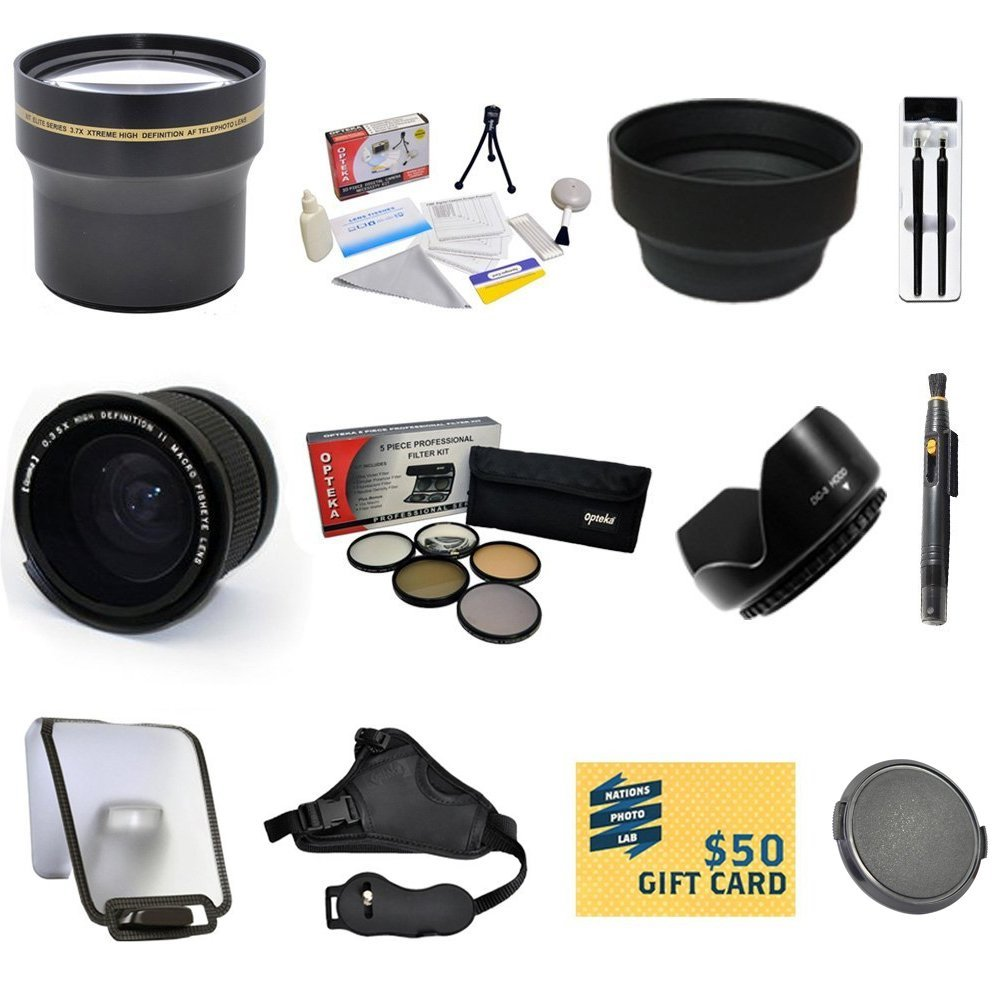 Essential Lens Kit for Canon EOS REBEL T5i T4i T3i T3 SL1 with  0.35X + 3.7x Lens + Pro 5 Piece Filter Kit + Hand Grip Strap + Lens Cleaning Pen + Sensor Cleaning Kit +Cleaning Kit + $50 Gift Card!