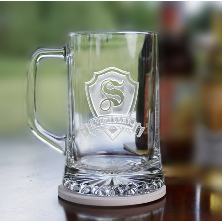 Crystal Beer (Personalized Shield Initial and Name on beer mugs (2 pcs))
