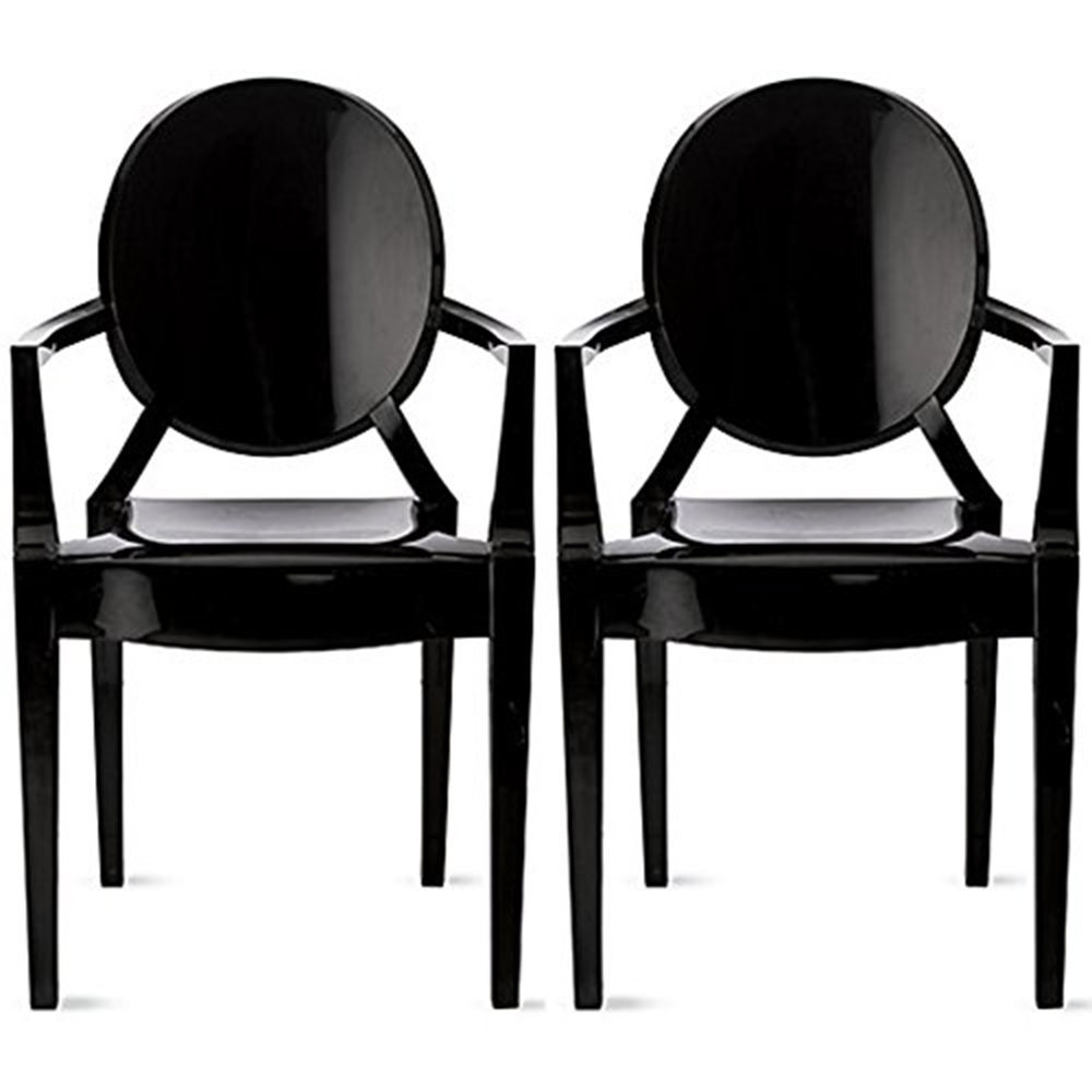 2xhome Set Of 2 Black Modern Glam Ghost Chairs Chair With Arms Molded Acrylic Plastic Mirrored Furniture Dining Retro For Writing Desk Living Bedroom