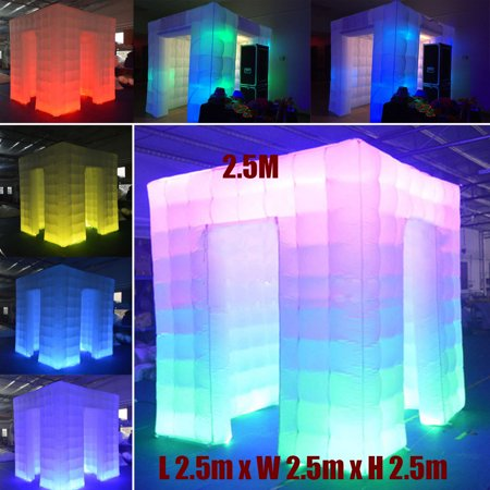 110V 2 Door 8.2ft Inflatable Multi LED Color Air Pump Photo Booth Tent For Wedding Birthdays Party Christmas Advertising Decor Ornament ()