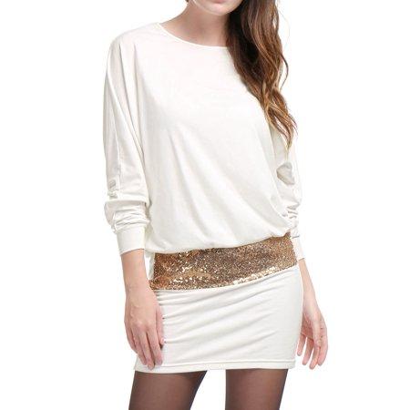 Women Dress Batwing Sleeves Sequins Accent Blouson Mini Party Dress White L (US 14) Accent Mini Dress