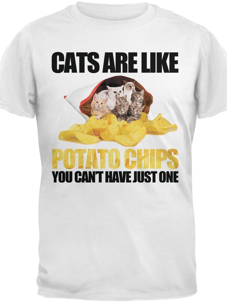 Cats Are Like Potato Chips Youth White T-Shirt