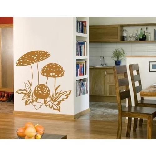 Mushroom Trio Wall Decal Vinyl Art Home Decor Dark red 39in x 45in
