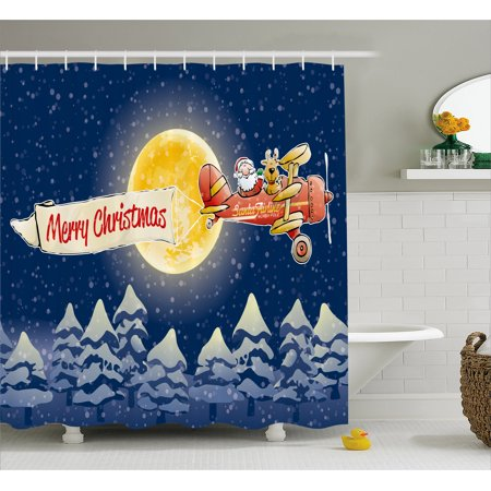 Christmas Shower Curtain  Santa Claus Airline Theme Vintage Plane Full Moon Snow Covered Trees  Fabric Bathroom Set With Hooks  69W X 70L Inches  Dark Blue Marigold Red  By Ambesonne