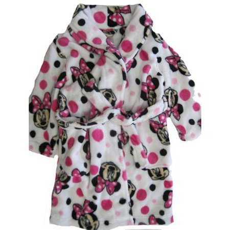 Disney Little Girls Pink White Minnie Mouse Polka Dotted Plush Bath Robe 6