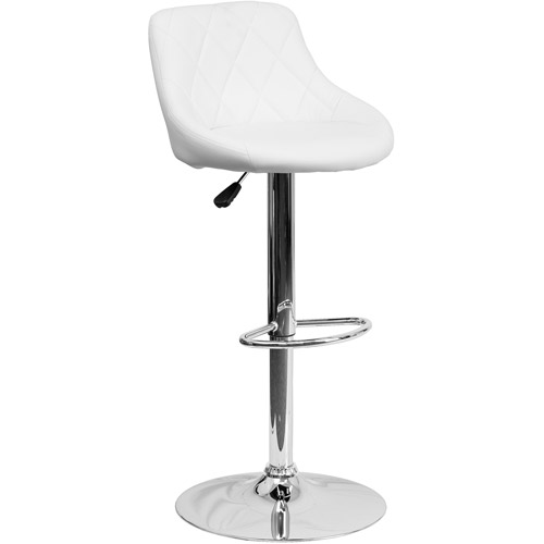 Contemporary Tuffed Vinyl Bucket Seat Adjustable Height Barstool with Chrome Base, Set of 2, Multiple Colors