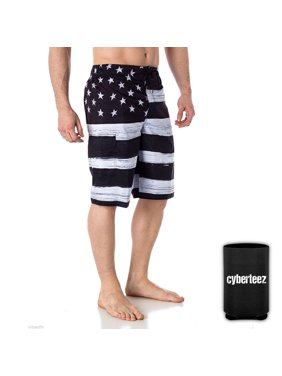 USA American Flag Old Glory Men's B/W Patriotic Board Shorts Swim Trunks + Coolie (XL)