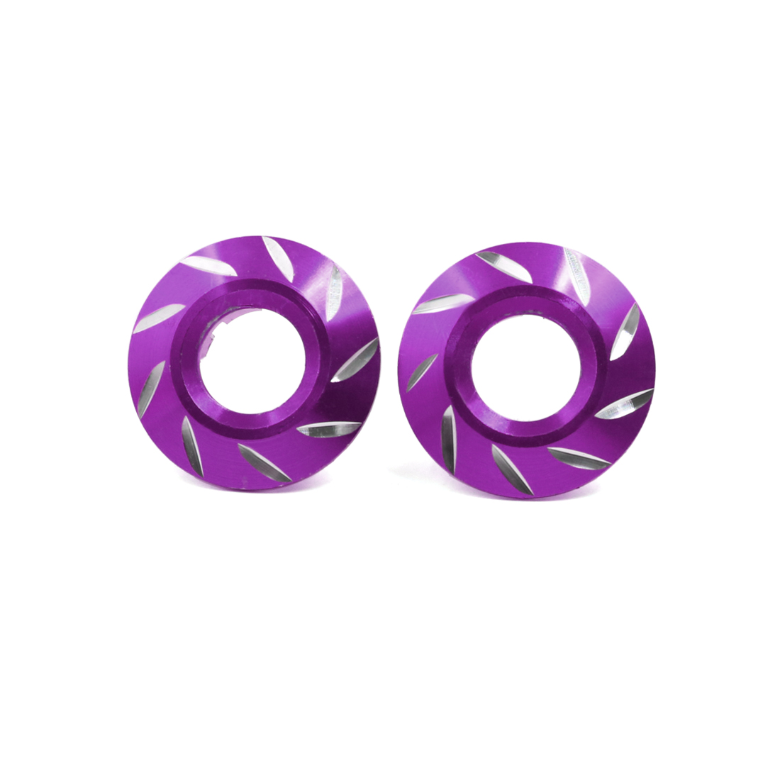 2 Pcs Purple Metal Flower Style Engine Oil Filler Fuel Cover Cap for Motorcycle