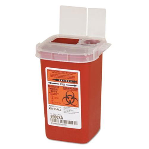Unimed SR1Q100900 Sharps Containers, Polypropylene, 1/4 Gal, 3 1/2 X 4 1/4 X 5 1/2, Red