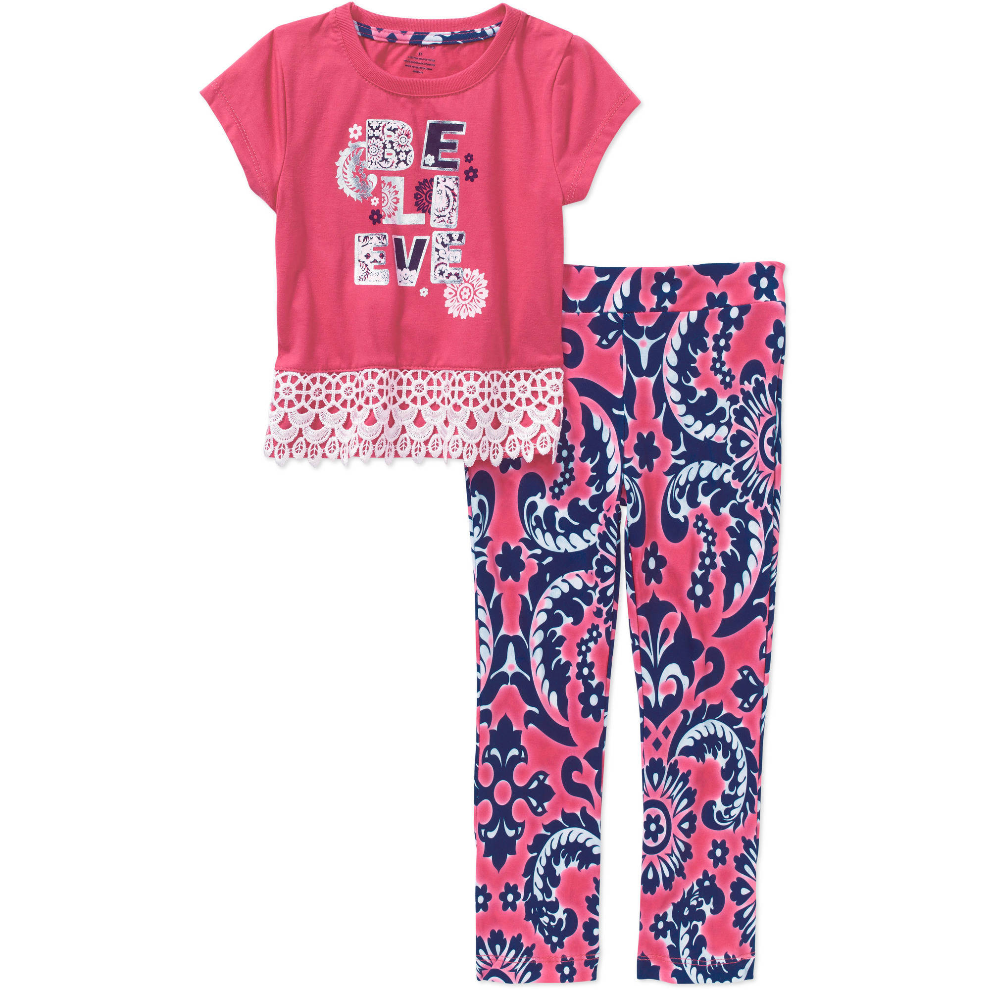 "One Step Up Toddler Girls' ""Flare It Up!"" 2 Piece Crochet Trim Top & Double Peached Flare Legging Set"