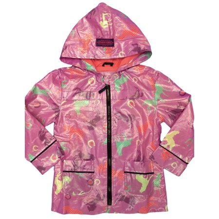Farm Girl Western Coat Girls Raincoat Horse Print Orchid F61198021
