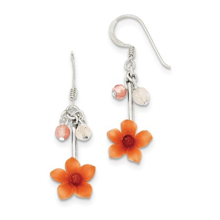 - 925 Sterling Silver Rose Cherry Quartz and Carnelian Dangle Flower Dangle Earrings