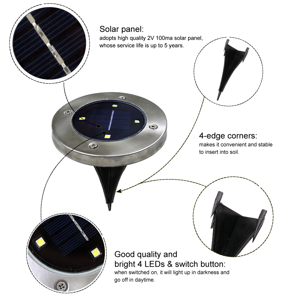 Tomshine 4Pcs Solar Powered Ground Light Outdoor Lamp For Yard Driveway U1F1