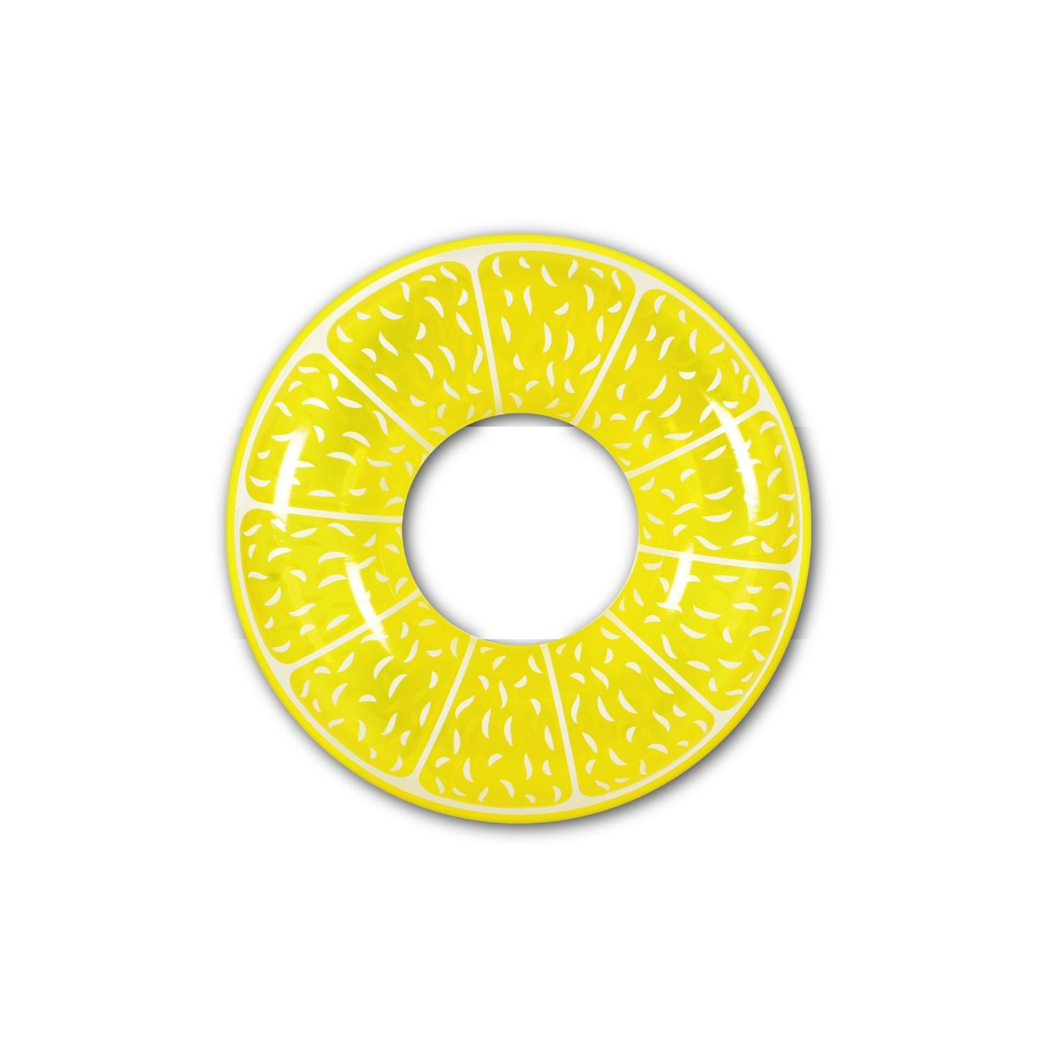 Inflatable Yellow and White Fruit Lemon Inch Inner Tube Pool Float, 47-Inch