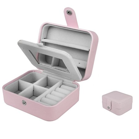 Jewelry Box, EEEKit Women Portable Travel Jewelry Organizer Box Makeup Cosmetic Case Storage Bag for Necklace Chain Bracelet Watch Earring Mirror Baby Chain Jewelry Box