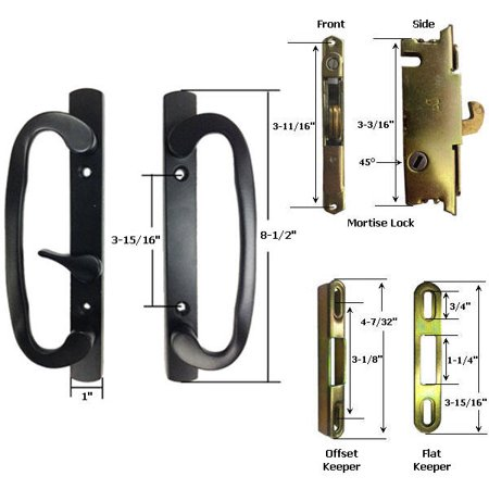 Sliding Glass Patio Door Handle Kit with Mortise Lock and Keepers, B-Position, Latch Lever is Off-Centered, Black, Non-Keyed ()
