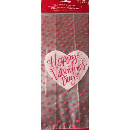 Happy Valentine's Day 25 Treat Bags with Twist Ties By Importe Par](Valentines Treats)
