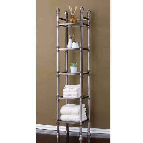Fox Hill Trading Monte Carlo 14'' x 67'' Bathroom Tower Shelf