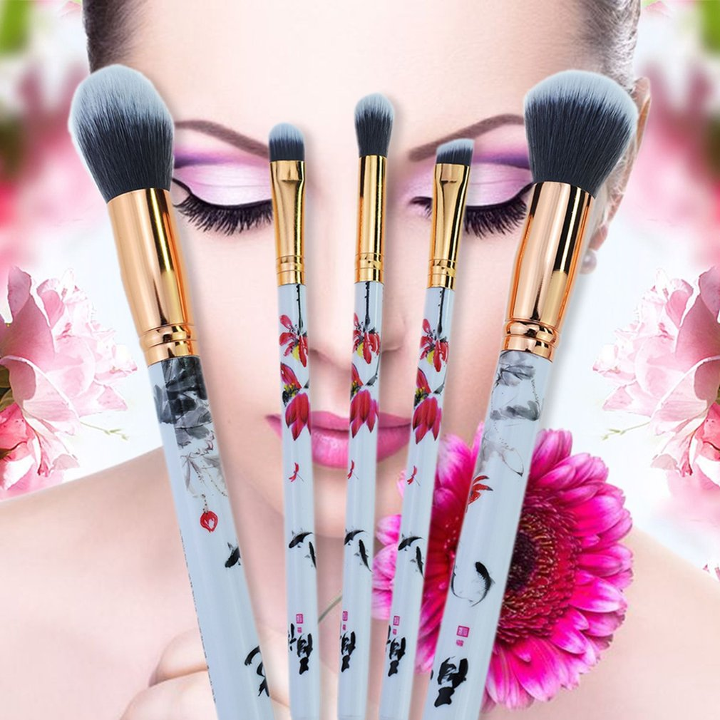 5pcs Chinese Style Printed Flower Makeup Brushes Cosmetics Tool Powder Foundation Eye Shadow Blush Brush Set Beauty Brush Kit,Multicolor