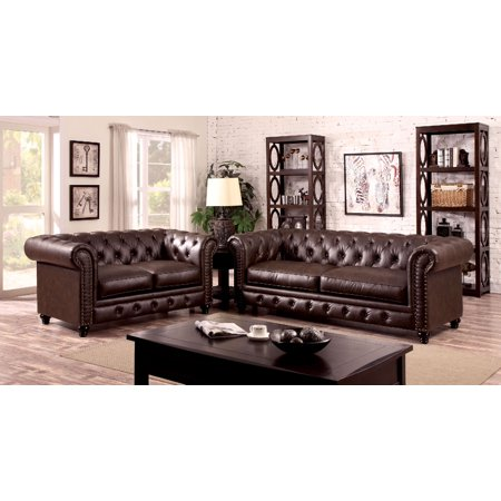 Chesterfield Inspiered 2pc Sofa Set Traditional Livng Room Furniutre Brown Finish Leatherette Fabric Tufted Sofa Loveseat Formal Couch ()