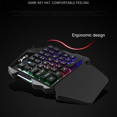 Single Gang Backlit Keypad - Staron K13 Wired 35 Keys LED Backlit Usb Ergonomic Single Hand Keypad Gaming Keyboard