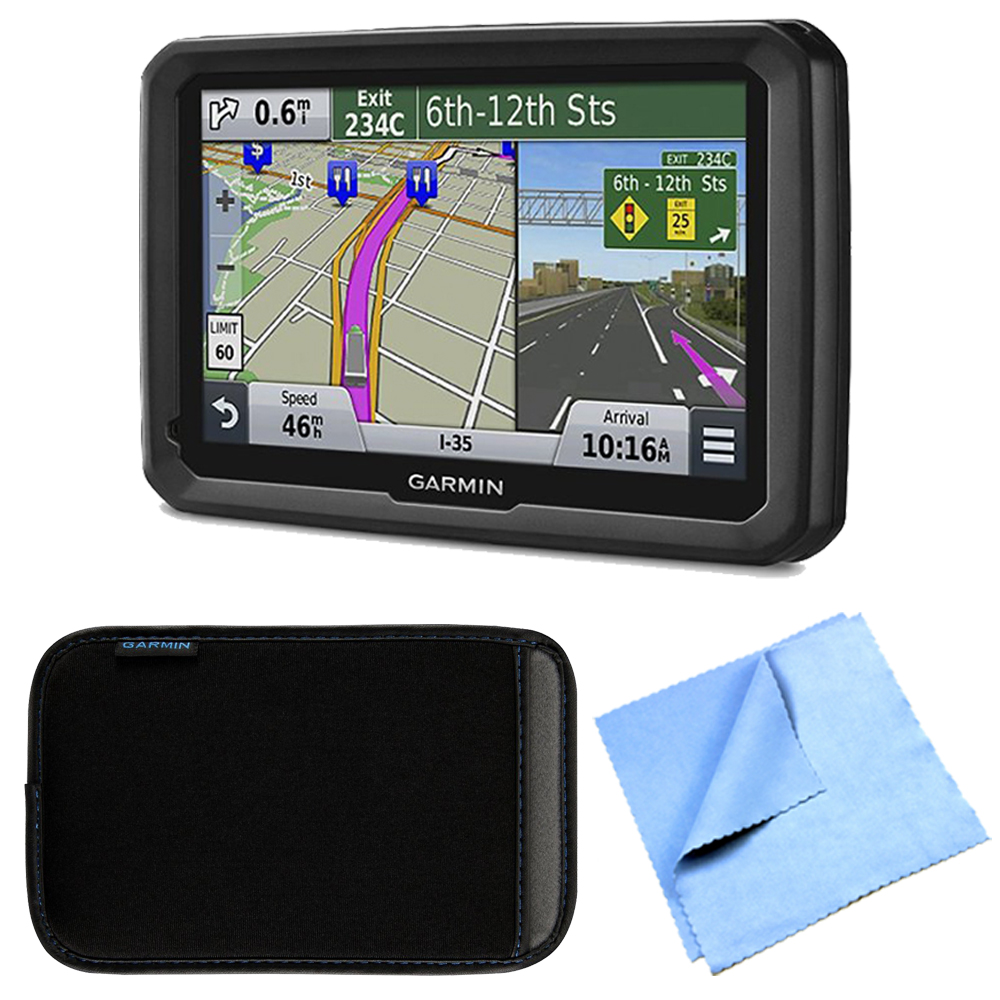 """Garmin dezl 570LMT 5"""" Truck GPS Navigation Lifetime Map/Traffic Updates Case Bundle - Includes 5"""" Truck GPS Navigation System, Nuvi 5 inch Protect, Stow and Carry Soft Case and Cleaning Cloth"""
