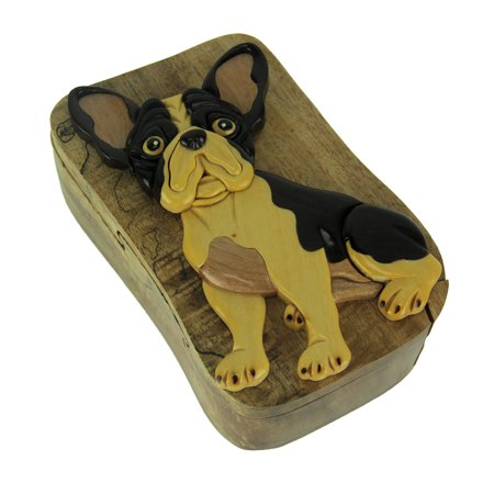 Hand Carved Wood 3D Boston Terrier Puzzle Trinket Box ()