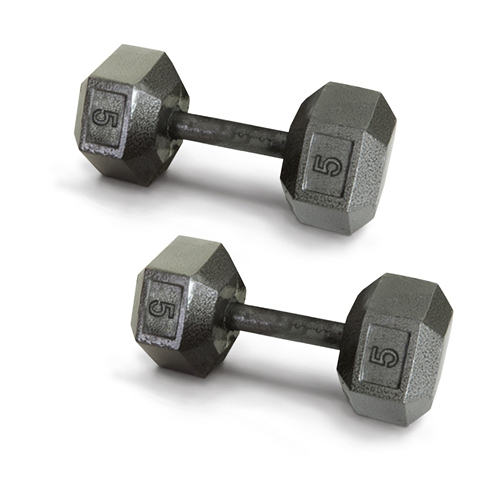 Harvil 5-Pound Gray Iron Hex Dumbbell Pair with Resin-Based Coating and Non-Slip Handles