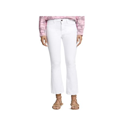 Sanctuary Womens Robbie Flare High-Rise Cropped Jeans White High Rise