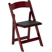 Flash Furniture 4pk HERCULES Series Mahogany Wood Folding Chair with Vinyl Padded Seat by Flash Furniture