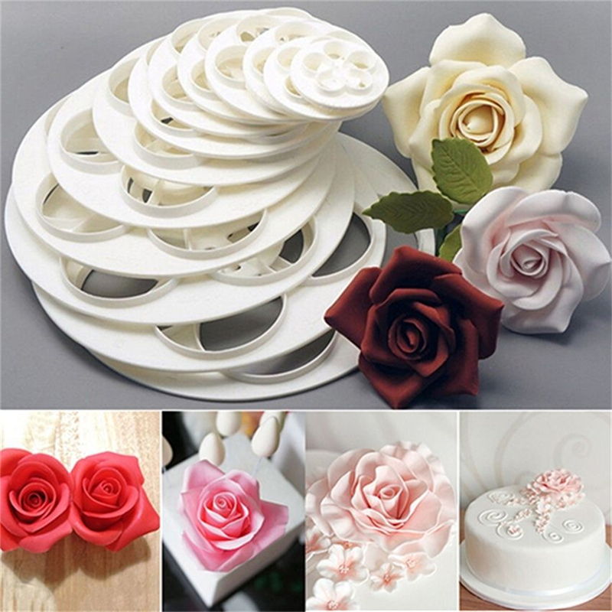 6PC Fondant Rose Flower Mold Cutter Cake Sugar Craft Decor Cookie Mould Hot Item