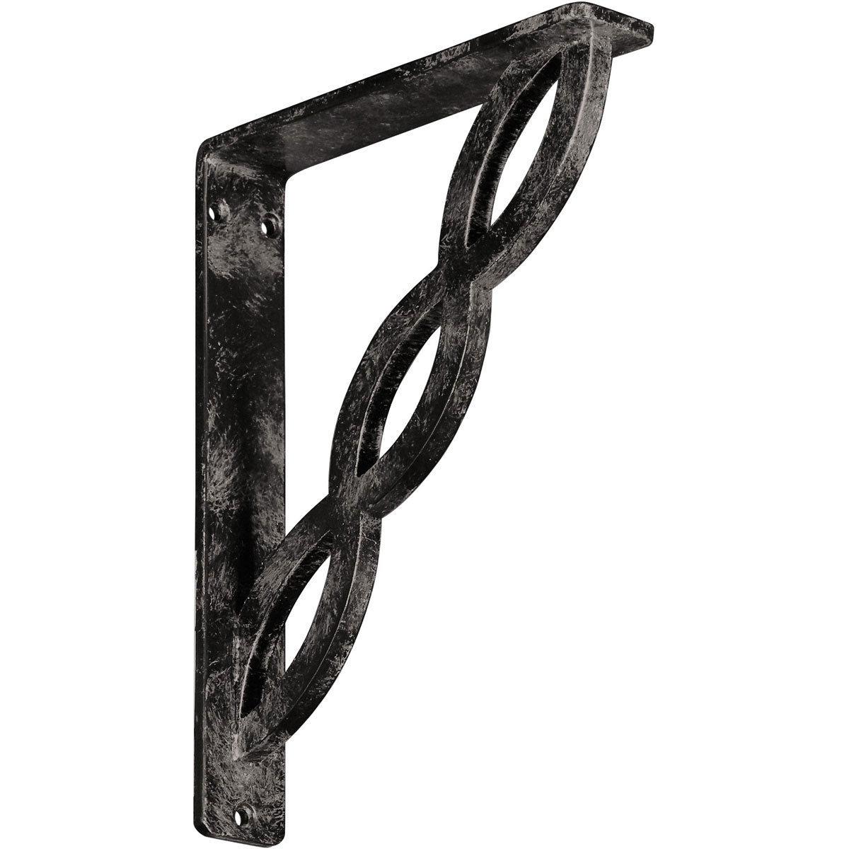 "1 1/2""W x 7 1/2""D x 10""H Loera Wrought Iron , (Single center brace), Antiqued Warm Silver"