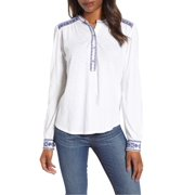 Lucky Brand | Embroidered Long Sleeves Henley Top | White
