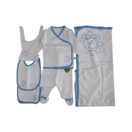 Baby Boys White Blue Edge Flower Print Soft Organic Cotton 6 Pc Layette Set