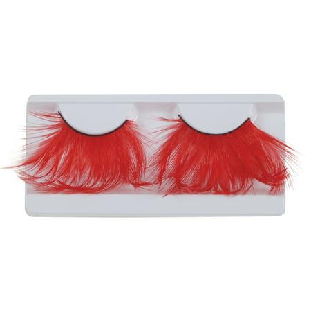 Loftus Showgirl Costume Feather 2pc Eyelashes, Red, One Size