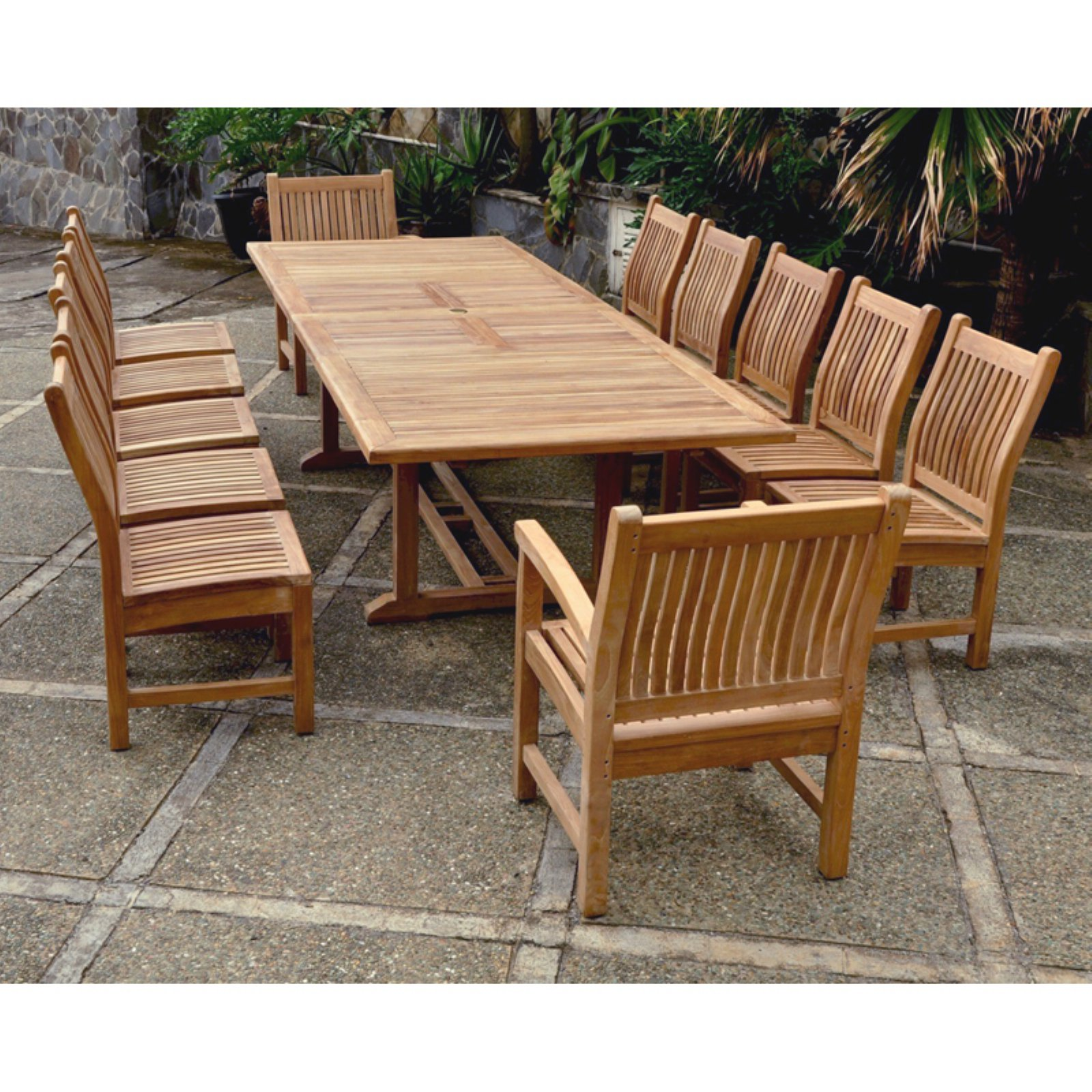 Anderson Teak Sahara 13 Piece Patio Dining Room Set by Teak Etc LLC