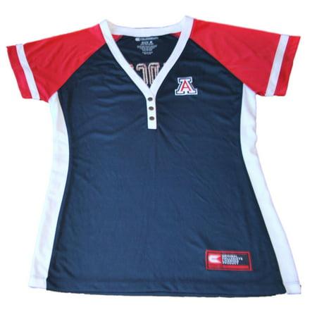 Arizona Wildcats Colosseum Women Navy 3 Button V Neck Performance T Shirt  M