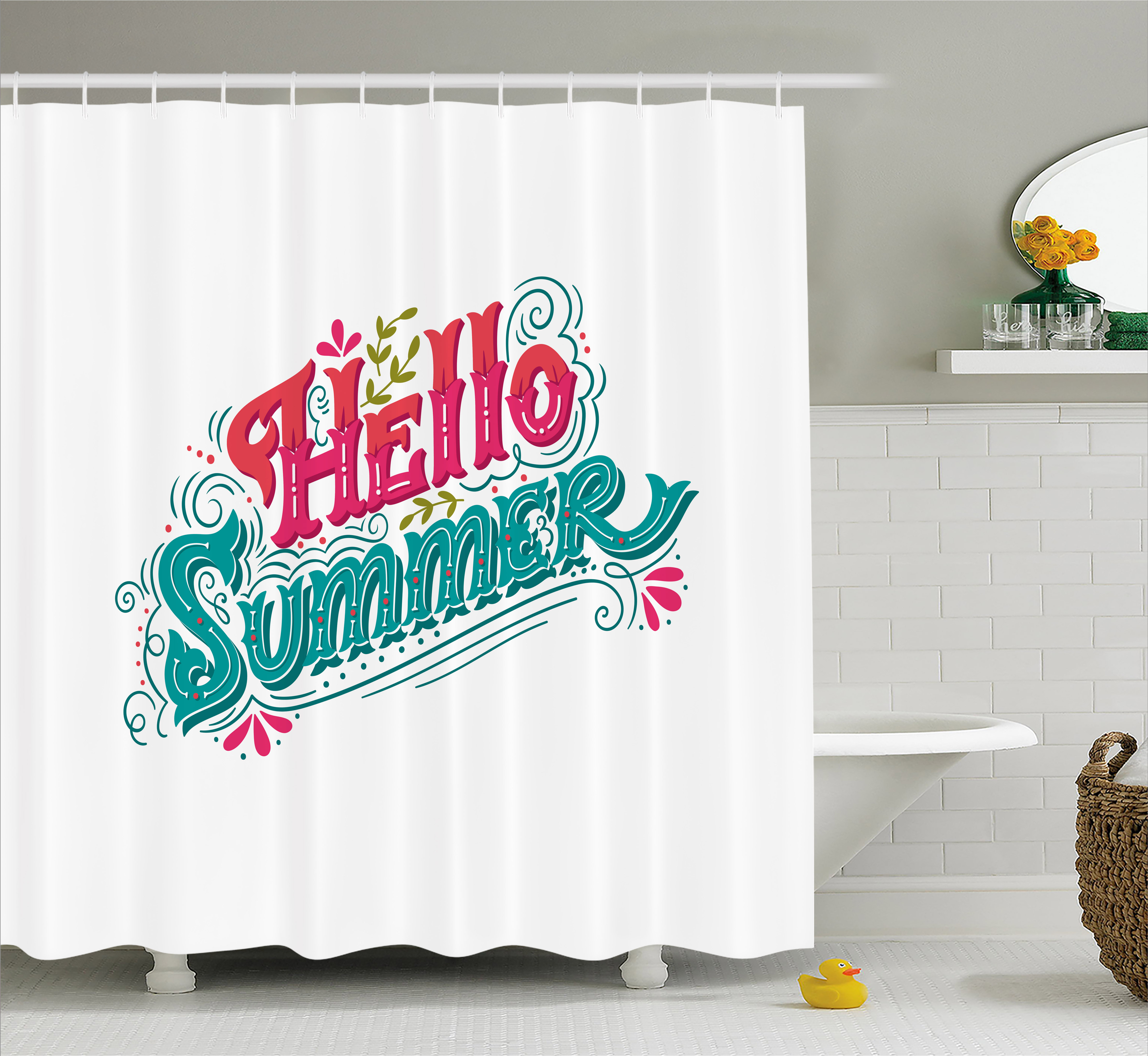 Hello Summer Shower Curtain, Handwritten Vintage Calligraphy with Floral Decoration Details, Fabric Bathroom Set with Hooks, 69W X 84L Inches Extra Long, Red Magenta Pale Sea Green, by Ambesonne