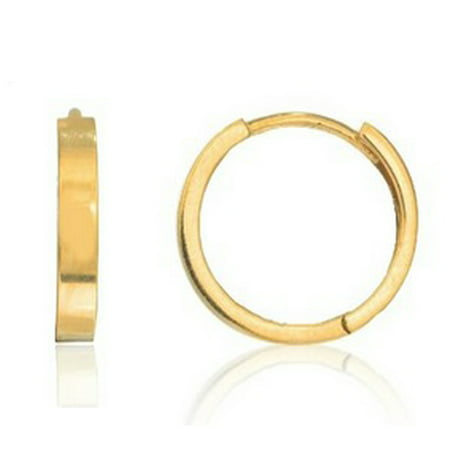 Men's 14k Solid Yellow or White Gold Single Square Tubular Huggie Unisex Hoop Earring 14kt Solid Yellow Gold Earring